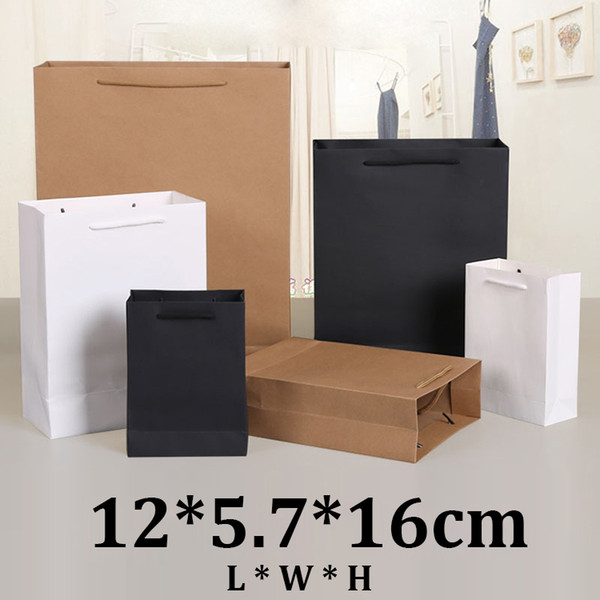 12x5.7x16cm vertical version brown black white cardboard shopping kraft paper gift bag