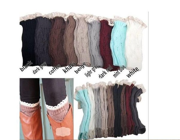 9 color women Crochet lace boot cuffs handmade Knit leg warmer Ballet lace Boot socks Cuff Leg Warmers Christmas Boot Socks covers DHL