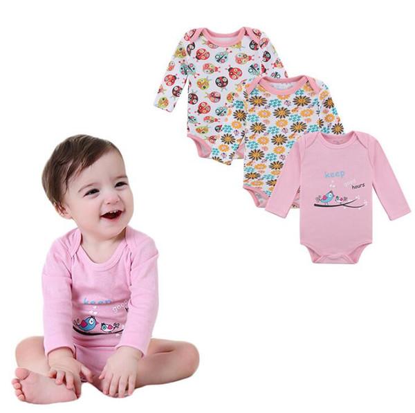 Fashion Cotton 3 PCS/lot Newborn Bodysuits Unisex Long Sleeve Baby Jumpsuit O-neck 0-12M Rompers Baby Clothes