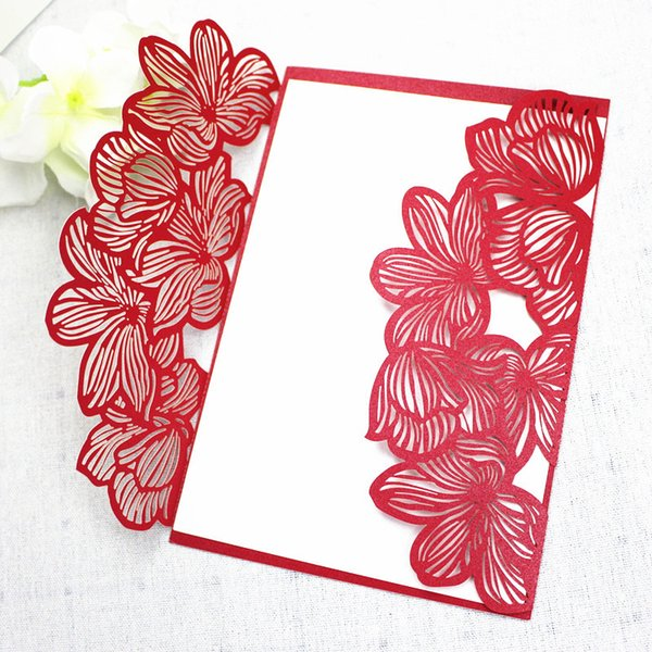 Red Petal Country Wedding Engagement Valentine S Day Invitation Card Shiny Laser Cutting Party Invitation Free Ship Elegant Wedding Invitation Free