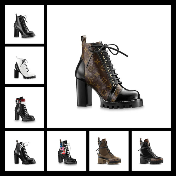 HIGHT Quality Black Patchwork Gladiator Lace Up Women Boots Round Toe Platform Chunky Heel Women Ankle Boots Shoes Women