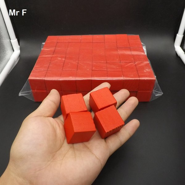 Red 100 pcs 2.5 cm Pine Tree Wooden Cube Game Gadget Brain Teaser Common Sense Education Toys For Kids And Parents (Model number B273}