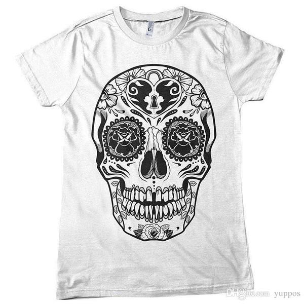 T Shirt Novità Los-Muertos KEYHOLE SUGAR SKULL DTG. T-shirt estiva T-shirt T-shirt a colori