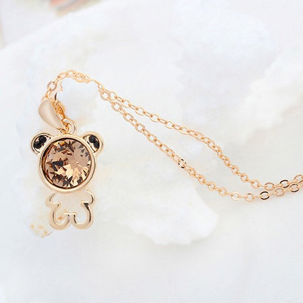 hot selling famous brands design champagne gold color plating bear shape necklace & pendant made with genuine Austrian crystal