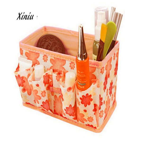Xiniu Cosmetic Storage Box Bag Floral Foldable Stationary Container Organizador Trousse Maquillage Femme A7725 Toiletry Bag