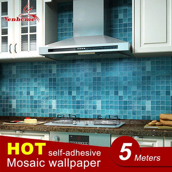 Großhandel 5 Mt PVC Wandaufkleber Badezimmer Wasserdicht Selbstklebende  Tapete Küche Wand Papier Mosaik Fliesen Aufkleber Wandtattoo Home Decor ...