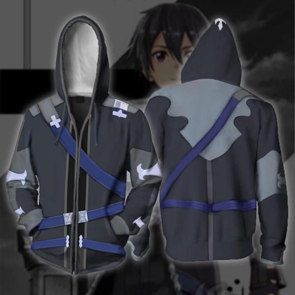 Anime Sword Art Online 3D Sweat à Capuche Pull Capuche Sweat Pull Manteau