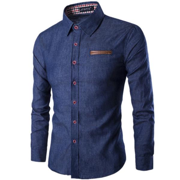 2018 Sonbahar Moda Marka Erkekler Gömlek Cep Deri Elbise Gömlek Uzun Kollu Slim Fit Camisa Masculina Casual Denim Mavi