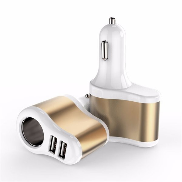 3 In 1 Car Charger Dual USB Ports Cigarette Lighter To Charge Mobile Cell Phones Tablet PC Phone Car Charger