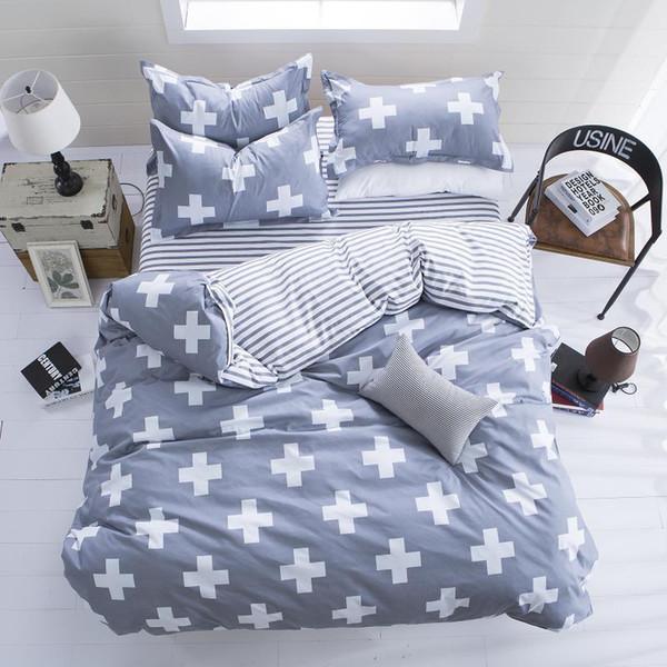 Cotton Striped Lattice Bedding Set Full Queen Super King Size Duvet Cover Bed Sheet Pillowcase Soft Kids Bedclothes black White
