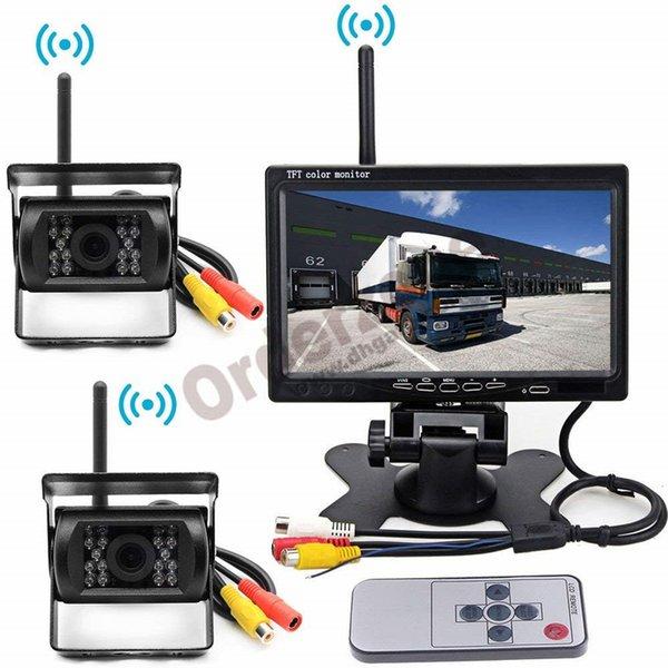 Kit caméra de recul de véhicule sans fil, caméra de vue arrière inversée pour parking de 2 x 18 LED + moniteur LCD de voiture 7