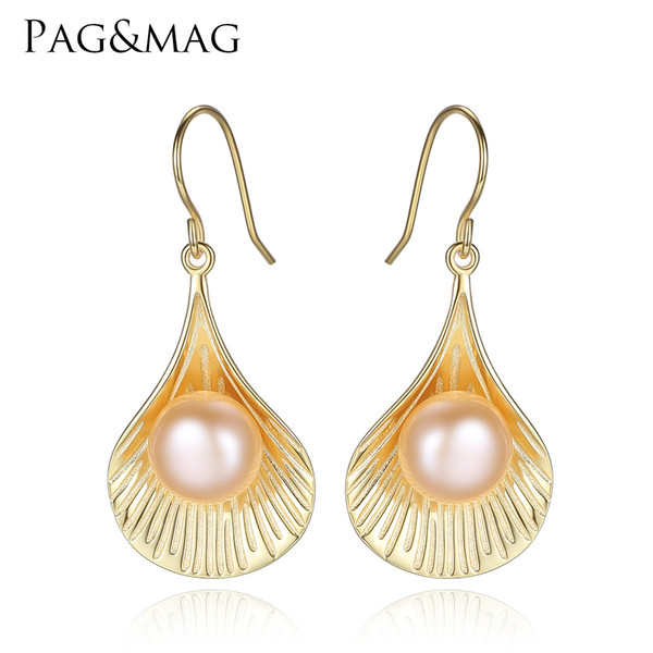 PAG&MAG S925 pure silver earrings 9-9.5mm natural pearls 18K genuine gold plated Pearl Pearl Earrings free shipping