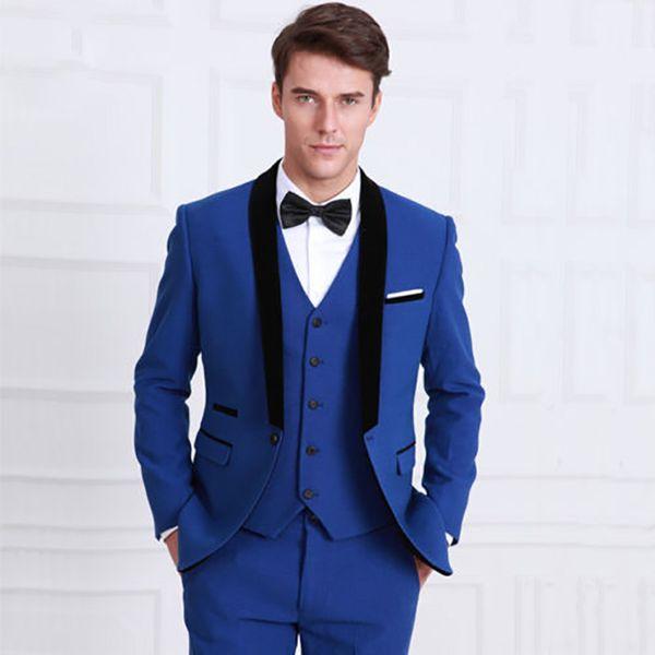 Royal Blue Slim Fit Suit Wedding Suits for Men Best Man Blazer Jacket Black Shawl Lapel Mariage Groom Tuxedo Prom Wear 3 Pieces