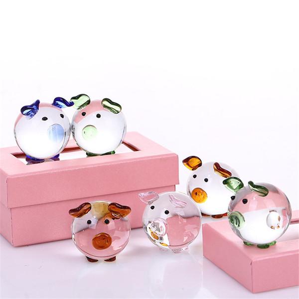 Çift Güzel Domuz Ev Dekorasyon Aksesuarları Sevimli Mini Kristal Cam severlerin Piggy Hayvan El Sanatları artesanato Hediye LX0729