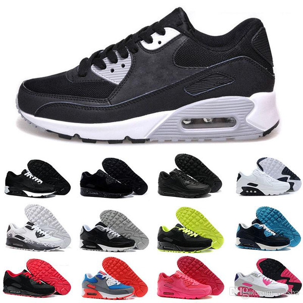 Großhandel Nike Air Max 90 Airmax Herren Turnschuhe Schuhe Klassische 90 Männer Laufschuhe Schwarz Rot Weiß Sport Trainer Kissen Oberfläche