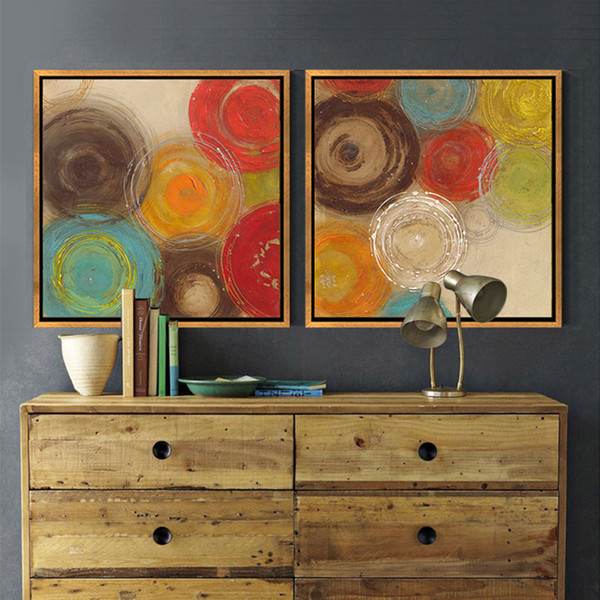 2019 Modern Abstract Painting Colored Circles Decorative Artist Canvas Wall  Art For Home Poster Picture Print Living Room Decoration From Shutie,