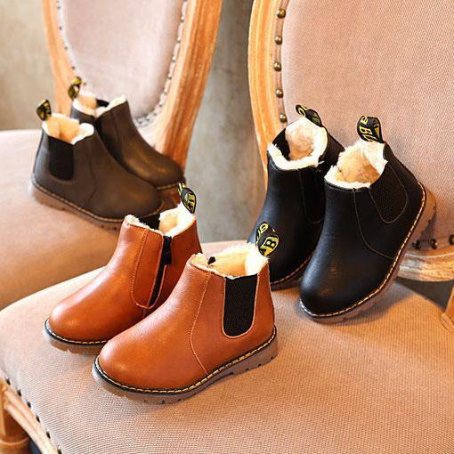 Autumn Winter Baby Boys and Girls Oxford Shoes Dress Boots for Children Fashion Martin Boots Toddler PU Ieather Boots