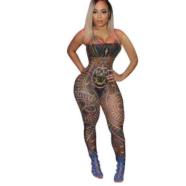 S-2XL new arrival Summer women Sexy high stretch mesh print slim suspender jumpsuit Skinny Nightclub party jumpsuit