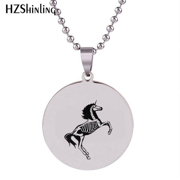 2018 New Unicorn Skeleton Halskette Kunst Hand Handwerk Edelstahl Anhänger Runde Silber Halsketten Schmuck Ball Kette HZ7
