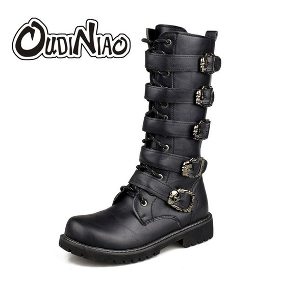 2019 OUDINIAO Army Boots Men High Military Combat Boots Metal Buckle Punk Mid Calf Male Motorcycle Boots Lace Up Men's Shoes Rock Sneakers