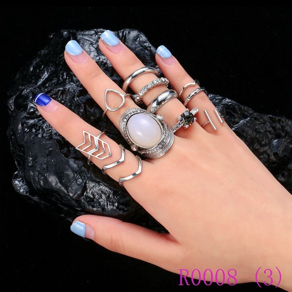 3pcs Retro Stone Finger Rings Set for Women Bohemian Rhinestone Bague Femme Anillos Valentines Day Gift Jewellery R0008