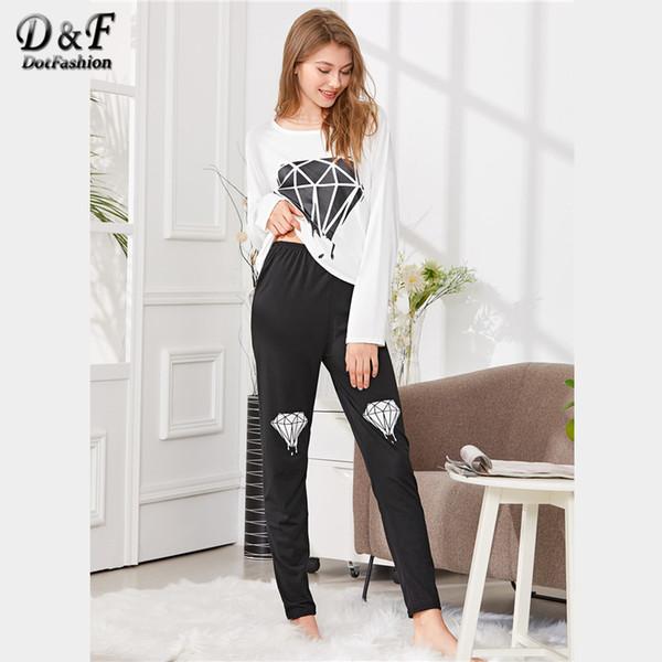 T-shirt con stampa Diamond Dotfashion PJ Set Donna 2018 Primavera Estate Girocollo casual a maniche lunghe girocollo nero e bianco