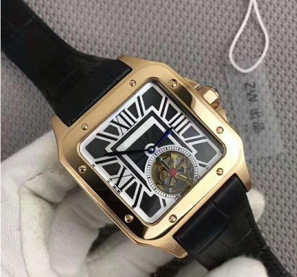 Factory Supplier NEW Luxury Automatic Core 316L Stainless Steel Case Mineral reinforcement glass mirror Leather strap Belt Buckle Men watch