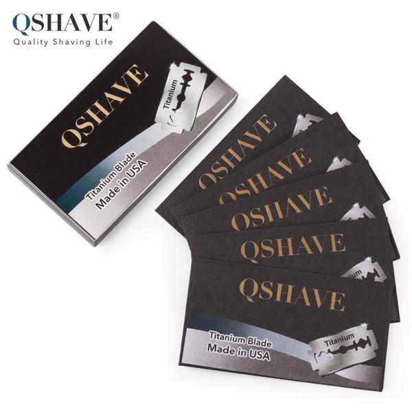 Qshave Double Edge Safety Razor Blade Classic Safety Razor Blade Straight Titanium Made in USA, 5 Blades