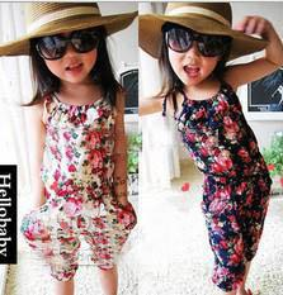 Wholesale Floral Newborn Baby Girl Kids Sleeveless Flower Romper Jumpsuit 100%Cotton Sunsuit Outfits Playsuits Summer INS 2018 5PCS/Lot
