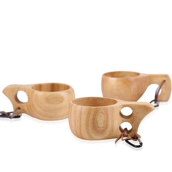 Nordic style wood cups Finnish traditional outdoor wooden elephant coffee cups tea cup wine cups portable cup with ring nice mug free ship