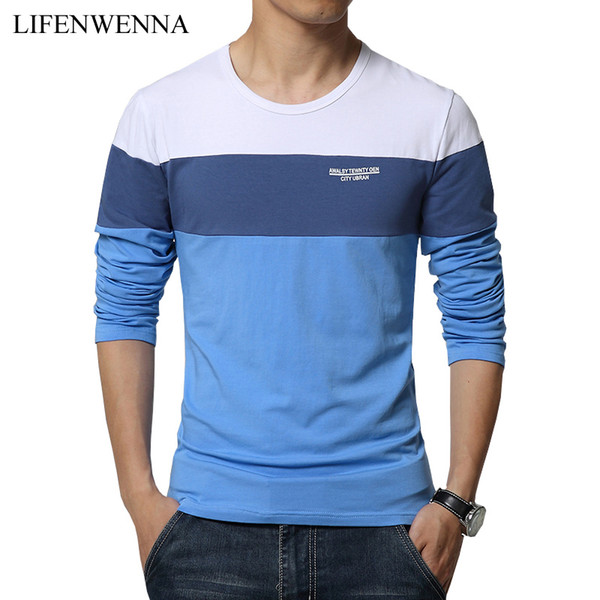 2018 Spring New Arrival Men's T Shirt O Neck Patchwork Long Sleeve T Shirt Mens Clothing Trend Plus Size Top Tees Shirts M-5XL