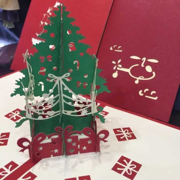 Handmade christmas cards 3d pop up greeting cards cutting castle handmade christmas cards 3d pop up greeting cards cutting castle christmas tree snowman creative delicate cards m4hsunfo