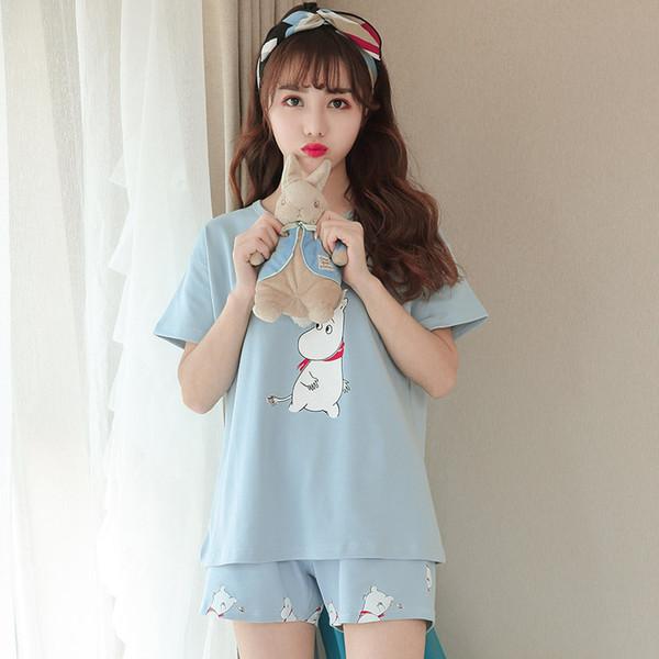 Летний новый г-жа пижамы оптом с короткими рукавами шорты костюм сладкий прекрасный дом одежда свободно можете носить пижаму вне