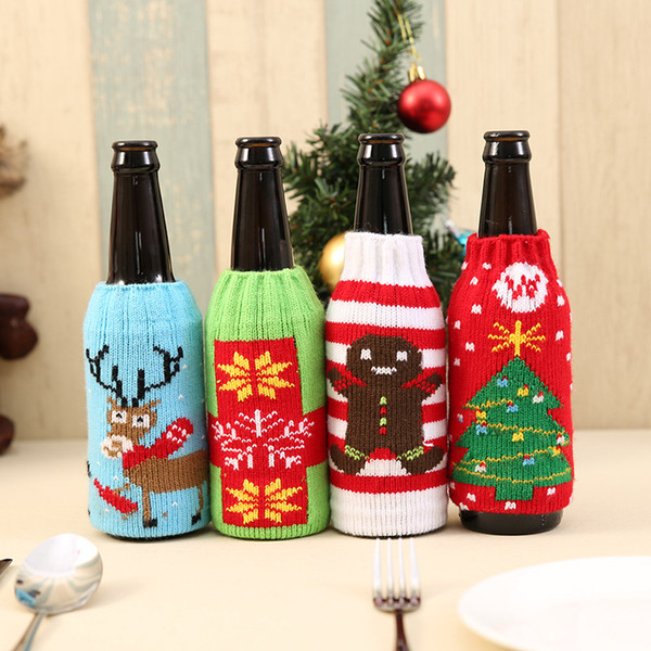 2017 New Arrival Beer Cocktail Bottle Decor Cartoon Knitting Bottle Cover Bags Clothes Home Party Dinner Table Christmas Decor