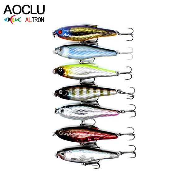 AOCLU wobbler Super Quality 8 Colors 48mm Hard Bait Minnow Pencil Popper StiCk Fishing lures Bass Fresh Salt water 12# VMC hooks Y18100906