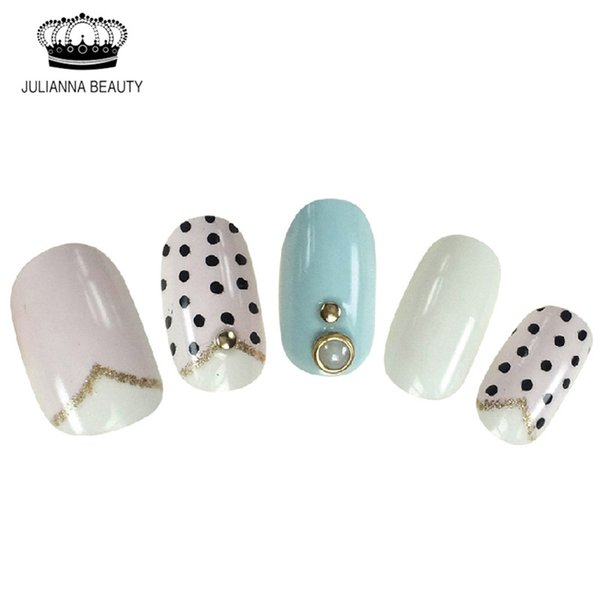 press on New 20PCS Fake Short Press On Nails False Nails With Pre Design Faux Ongles Glitter Nail Tips With Bright Rhinestone