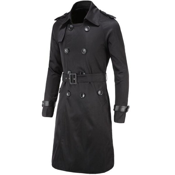 Mens Autumn Winter Long Coat Overcoat Double Breasted Windbreaker Jacket Fashion Cardigan Clothing Men Male Tops 5 Colour