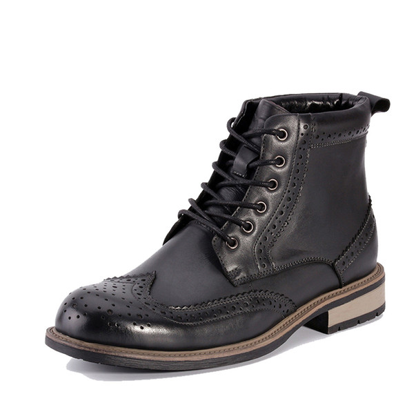 New Genuine Leather Men Shoes Spring Autumn Men Boots Fashion Carved Male Lace-UP Shoes High-Cut Men Casual Shoes