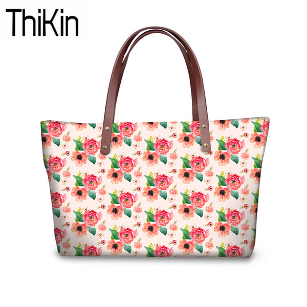 THIKIN Women Top-Handle Bags for Wallets Floral 3D Printing Shoulder Messenger Bags Ladies Large Capacity Hand Tote Bolsa