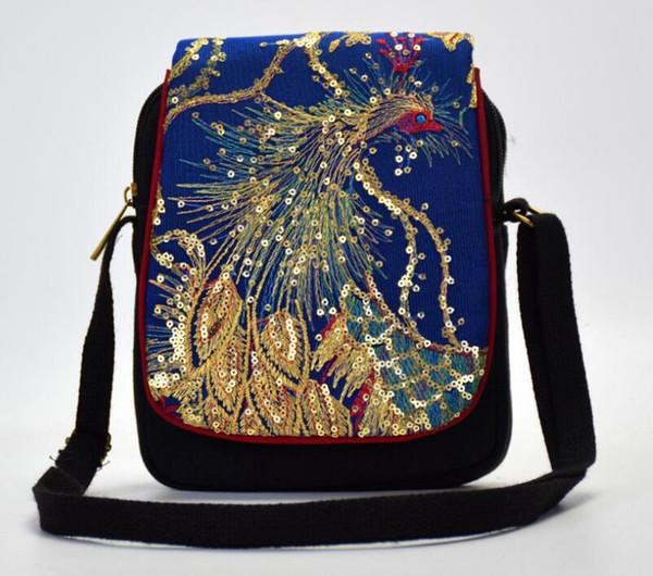 Red Phoenix Embroidery Women's Crossbody Purse Messenger Shoulder Bag wallet
