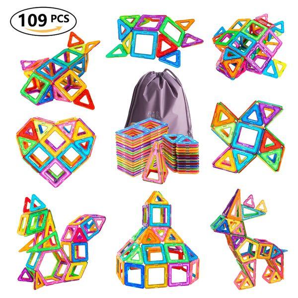 109 unids / sets Gran Tamaño Cubos Magnéticos Cubo Diseñador de Construcción de Edificios de Plástico Azulejos Niños Juguetes Educativos para Niños