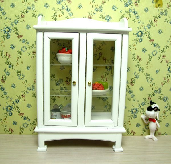 1/12 Scale Toy Dollhouse Miniature Furniture Wooden Kitchen Display Cupboard Cabinet Shelf Show case Home Decor Mini Model White Gift