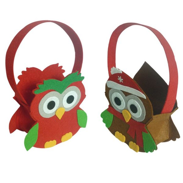 Christmas Kids Gift Handbag Cute Owl Pattern Bag Candy Gift Handbag for Children Christmas Tree Decor Home Decor Ornaments