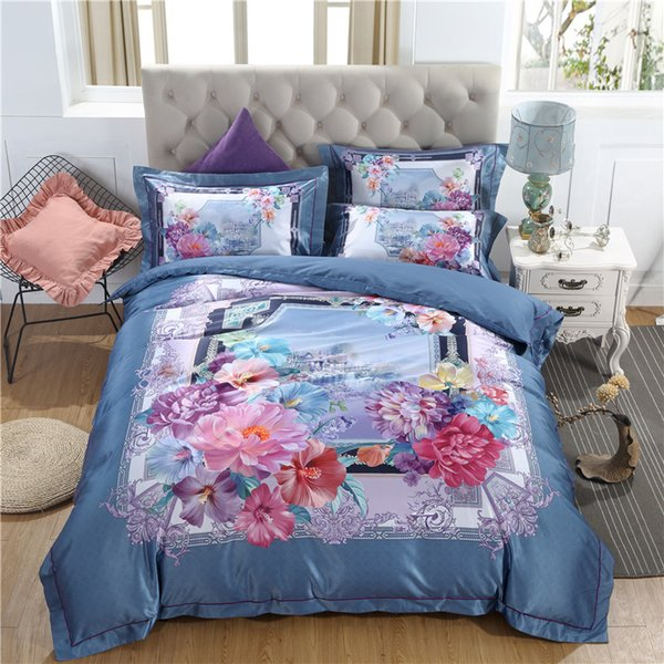 NEW Beautiful Digital Printing Duvet Cover Pillowcases Home Bedding Set 4pcs Queen Double Satin Jacquard Quilt Cover SMN21