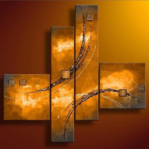 Modern Home Wall Art Handmade Large 4 Piece Graffiti Lines Painting Hand-painted Abstract Gold Oil Paintings on Canvas