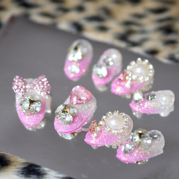 3D Butterfly Gems Pink French False Fake Nails Clear Crystal Stone Pearl Shimmer Sugar Glitter Nail Art Tips Round DIY Manicure