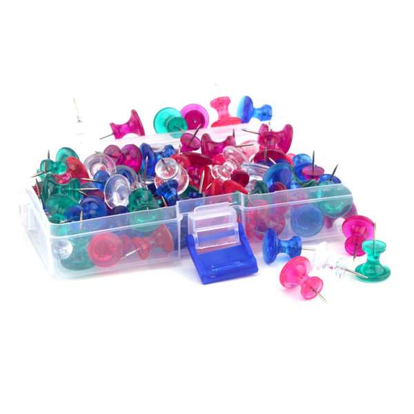 top popular Jumbo Push Pins 100 Count, colorful Clear Thumb Tacks 11mm Steel Point, 16*13mm Clear Plastic Head 2021