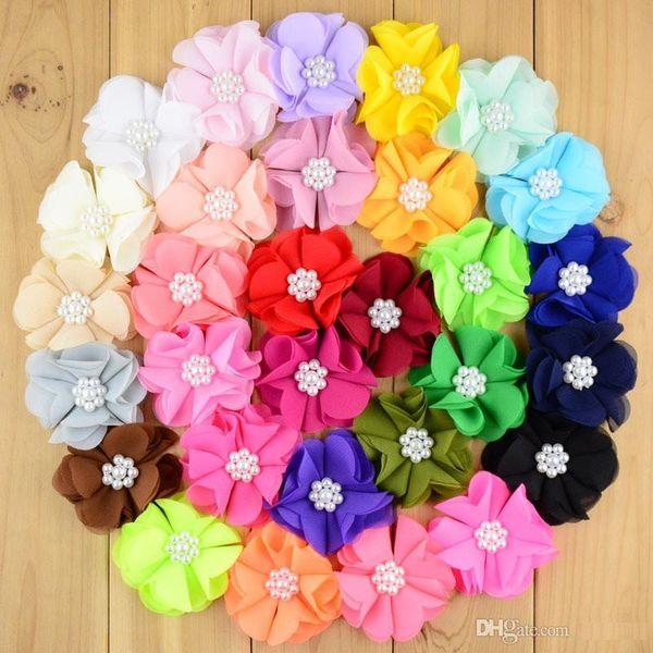 pearl Chiffon flower 50pcs 3 inch DIY Girl Hair Accessories for Newborn Elastic Hair Band Infant cute Headdress 30 colors TO389
