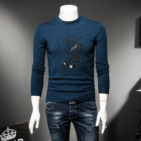 2018 New Arrive High Quality Men Pullover Sweater O-neck Men jumper Sweaters Black Blue Red Clothes M-4XL 8828