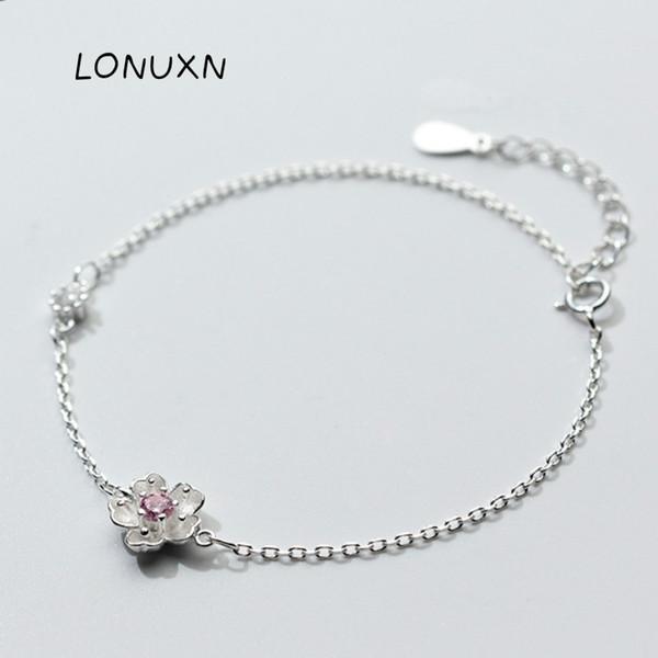 высокое качество Сакура цветок браслет девушки Cherry Blossom Шарм браслеты для женщин элегантный Леди стерлингового серебра 925 ювелирных изделий